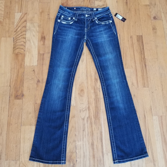 NWT MISS ME EMBELLISH, STITCH, LONG BOOTCUT JEANS
